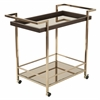 Office Star Isabella Wine Cart with Bronze Glass top in Champagne Metal Frame