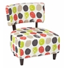 Office Star Boulevard Chair with Dark Espresso Finished Legs and Dot Poppy Fabric