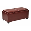 Office Star Bedford Storage Ottoman With Dual Trays and seats in Red Bonded Leather