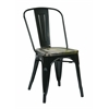 Bristow Metal Chair with Vintage Wood Seat, Black Finish Frame & Ash Cameron Finish Seat, 4 Pack