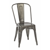 Bristow Armless Chair, Matte Galvanized Finish, 2 Pack