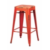 "Office Star Bristow 26"" Antique Metal Barstool, Antique Orange Finish, 4 Pack"