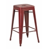 "Office Star Bristow 26"" Antique Metal Barstool, Antique Red Finish, 4 Pack"