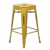 "Office Star Bristow 26"" Antique Metal Barstool, Antique Yellow with Blue Specks Finish, 4 Pack"