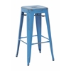 "Bristow 30"" Antique Metal Barstool, Antique Royle Blue Finish, 4 Pack"