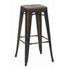 "Office Star Bristow 30"" Antique Metal Barstool, Antique Copper Finish, 4 Pack"
