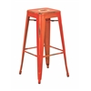 "Office Star Bristow 30"" Antique Metal Barstool, Antique Orange Finish, 4 Pack"