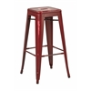 "Office Star Bristow 30"" Antique Metal Barstool, Antique Red Finish, 4 Pack"