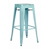 "Office Star Bristow 30"" Antique Metal Barstool, Antique Sky Blue Finish, 4 Pack"