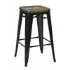"Office Star Bristow 26"" Antique Metal Barstool with Vintage Wood Seat, Black Finish Frame & Ash Cameron Finish Seat, 4 Pack"