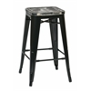 "Bristow 26"" Metal Barstool with Vintage Wood Seat, Black Finish Frame & Ash Crazy Horse Seat, 4 Pack"