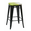 "Office Star Bristow 26"" Antique Metal Barstool with Vintage Wood Seat, Black Finish Frame & Pine Alice Finish Seat, 4 Pack"
