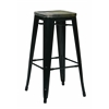 "Bristow 30"" Metal Barstool with Vintage Wood Seat, Black Finish Frame & Ash Cameron Finish Seat, 4 Pack"
