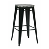 "Bristow 30"" Metal Barstool with Vintage Wood Seat, Black Finish Frame & White/Ash Crazy Horse Finish Seat, 4 Pack"