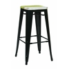 "Office Star Bristow 30"" Antique Metal Barstool with Vintage Wood Seat, Black Finish Frame &  Pine Alice Finish Seat, 2 Pack"