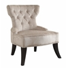 Office Star Colton Vintage Style Button Tufted Velvet Chair with Nailhead Detail and Spring Seat in Brilliance Parchment Cream Fabric