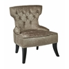 Office Star Colton Vintage Style Button Tufted Velvet Chair with Nailhead Detail and Spring Seat in Brilliance Otter fabric.