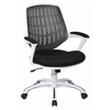 Office Star Calvin Office Chair, White Frame and Black Mesh Fabric and Arms
