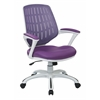 Office Star Calvin Office Chair with White Frame and Purple Mesh Fabric, with Arms