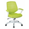 Office Star Calvin Office Chair With White Frame and Green Mesh Fabric, With Arms