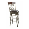 "Office Star 30"" Cosmo Metal Swivel Barstool in Espresso Faux Leather Seat"