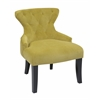 Office Star Curves Hour Glass Accent Chair in Basil Velvet Fabric with Espresso Legs