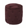 Office Star Curves Tufted Round Ottoman in Port Velvet