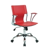 Office Star Dorado Office Chair with Fixed Padded Arms and Chrome Finish in Red