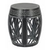 Wood Drum Table in Antique Black Finish