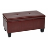 Office Star Detour Storage Bench in Crimson Red Bonded Leather