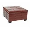 Office Star Detour Strap Ottoman with Tray in Crimson Red Bonded Leather