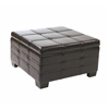Office Star Detour Strap Ottoman with Tray in Espresso Bonded Leather