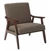 Office Star Davis Chair in Klein Otter fabric with medium Espresso frame.