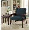 Office Star Davis Chair in Klein Azure fabric with medium Espresso frame.