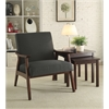Office Star Davis Chair in Klein Charcoal fabric with medium Espresso frame.