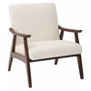 Office Star Davis Chair in Linen fabric with medium Espresso frame.