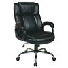 Office Star Executive Black Eco-Leather Big Mans Chair with Padded Loop Arms and Chrome Base