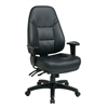 Office Star Deluxe Multi Function High Back Black Eco Leather Chair with Ratchet Back and 2-Way Adjustable Arms