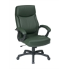 Office Star Executive High Back Green Eco Leather Chair with Locking Tilt Control and Color Match Stitching