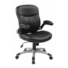 Office Star Executive Mid Back Bonded Leather Chair with Adjustable Padded Flip Arms