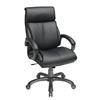 Office Star Executive Black Eco Leather Chair with Locking Tilt Control and Titanium Coated Base