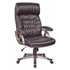Office Star Executive Espresso Bonded Leather Chair with Adjustable Padded Arms and Coated Nylon Base with Cocoa Finish