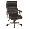 Office Star Executive Black Bonded Leather Chair with Adjustable Padded Arms and Coated Nylon Base with Silver Finish