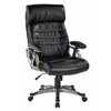 Office Star Executive Black Bonded Leather Chair with Adjustable Padded Arms and Coated Nylon Base with Titanium Finish