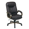 Office Star Executive Espresso Eco Leather Chair with Padded Arms and Cocoa Coated Frame