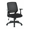 Office Star Screen Back Task Chair with Black Fabric Seat, T Arms and and Dual Wheel Carpet Casters