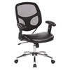 Office Star Screen Back Task Chair with Faux Leather Seat, Adjustable Padded PU Arms, Chrome Nylon Base and Dual Wheel Carpet Casters