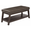 Emery Entry Bench with Mocha Rustic Bonded Leather