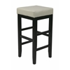 "30"" Square Cream Faux Leather Barstool with Espresso legs"