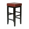 "Office Star 30"" Square Red Faux Leather Barstool with Espresso Legs"